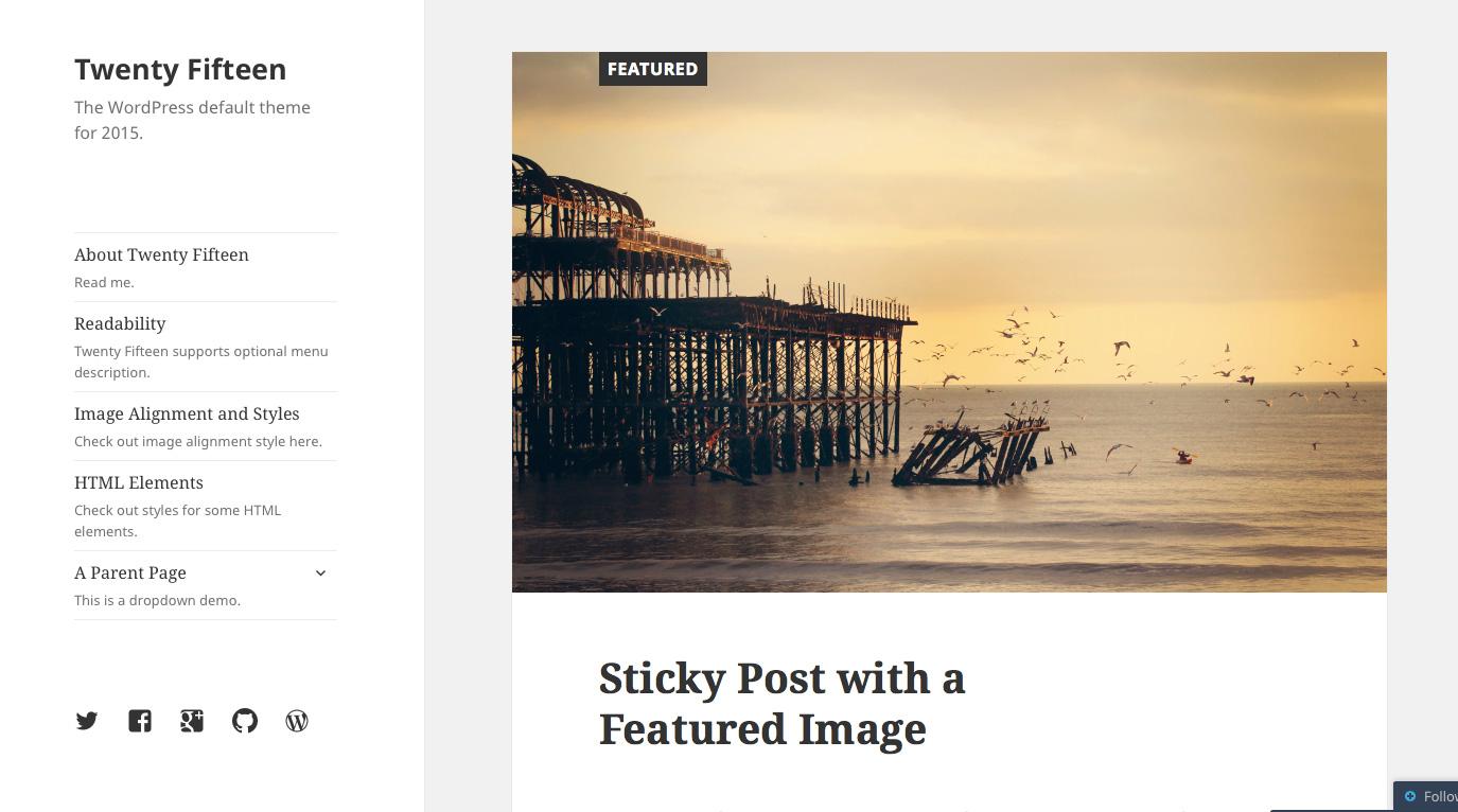 WordPress 2015 default theme