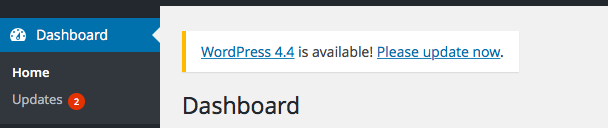 WordPress 4.4 update available